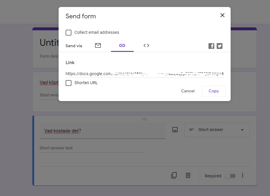 Skärmdump av Google Forms