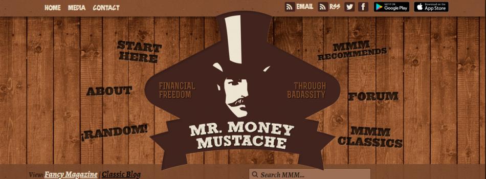 Skärmdump från Mr. Money Mustache hemsida